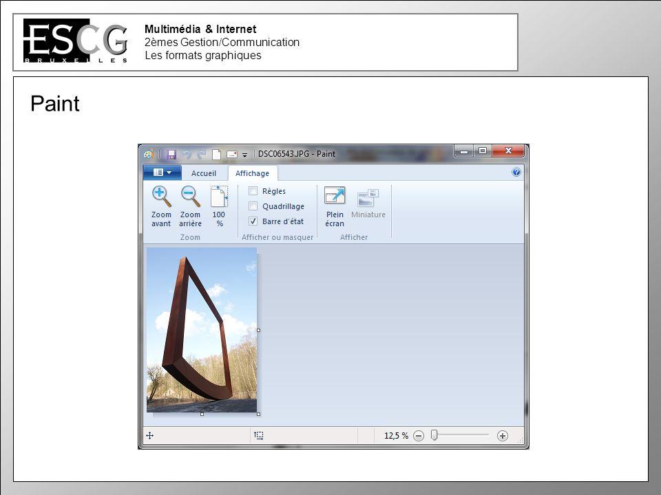 31 Multimédia & Internet 2èmes Gestion/Communication Les formats graphiques Paint