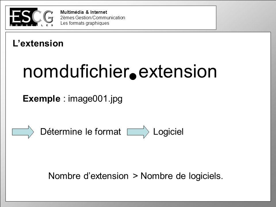 6 Lextension nomdufichier extension Exemple : image001.jpg Détermine le format Logiciel Nombre dextension > Nombre de logiciels.