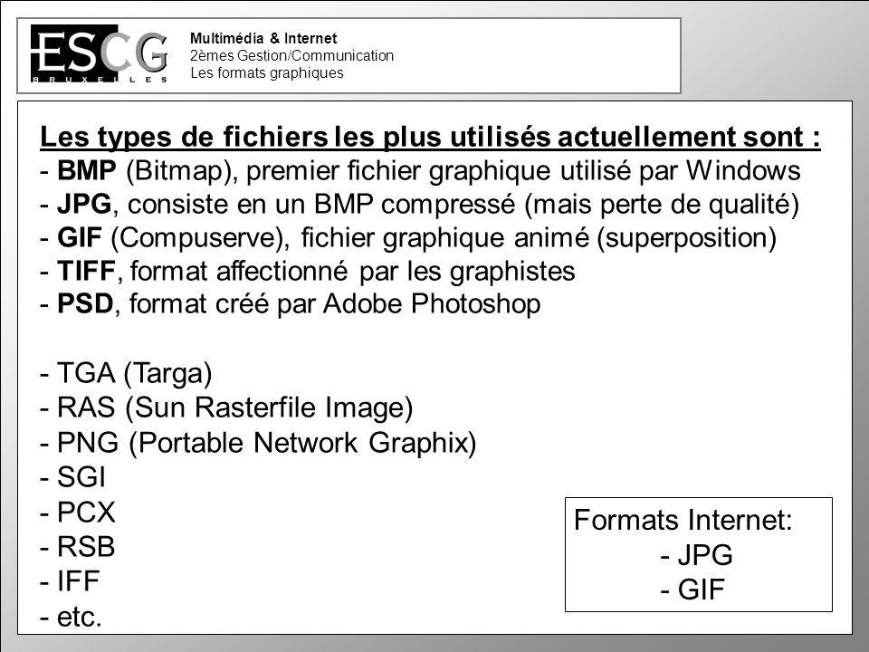 8 Multimédia & Internet 2èmes Gestion/Communication Les formats graphiques Les types de fichiers les plus utilisés actuellement sont : - BMP (Bitmap), premier fichier graphique utilisé par Windows - JPG, consiste en un BMP compressé (mais perte de qualité) - GIF (Compuserve), fichier graphique animé (superposition) - TIFF, format affectionné par les graphistes - PSD, format créé par Adobe Photoshop - TGA (Targa) - RAS (Sun Rasterfile Image) - PNG (Portable Network Graphix) - SGI - PCX - RSB - IFF - etc.