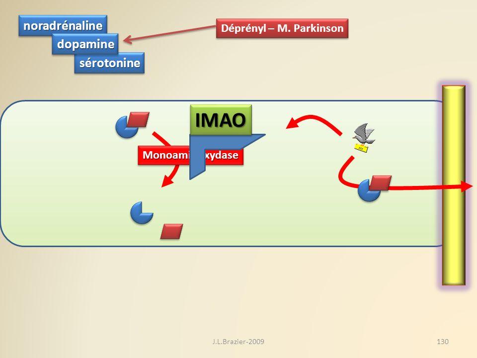 sérotoninesérotonine noradrénalinenoradrénaline dopaminedopamine MonoaminoxydaseMonoaminoxydase IMAOIMAO Déprényl – M. Parkinson 130J.L.Brazier-2009