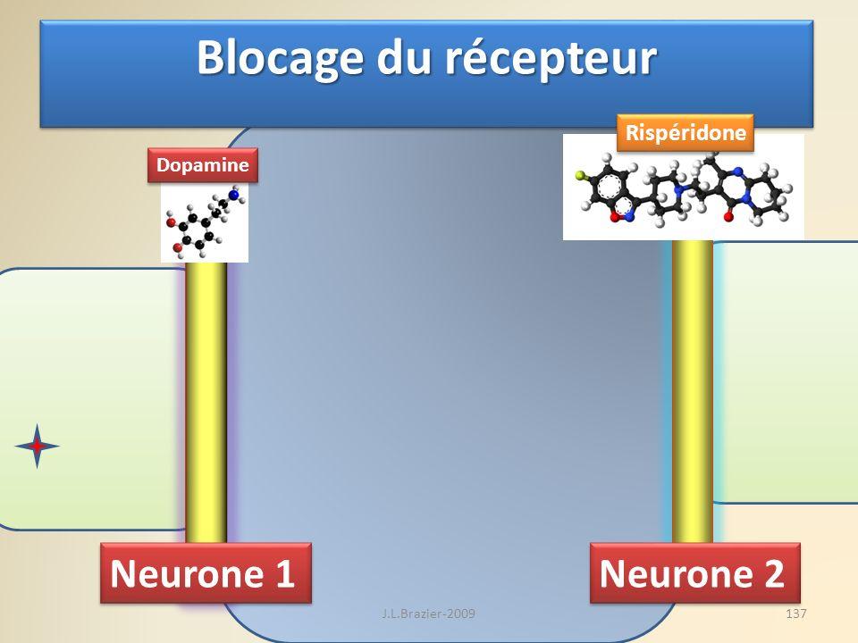 Neurone 1 Neurone 2 Blocage du récepteur Dopamine Rispéridone 137J.L.Brazier-2009