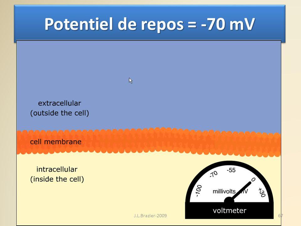 Potentiel de repos = -70 mV 67J.L.Brazier-2009