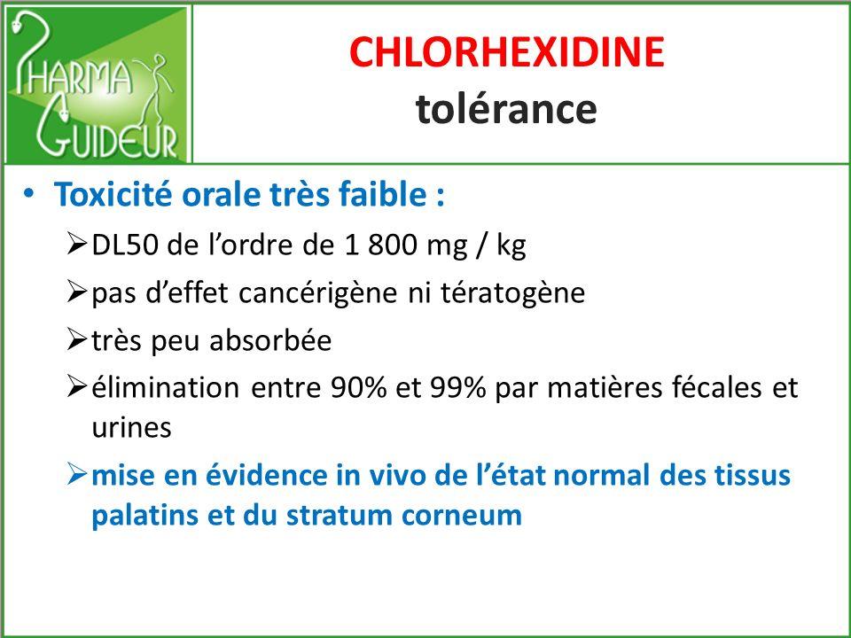 CHLORHEXIDINE preuves cliniques (3) Études sur les gingivites de ladulte avec des bains de bouche et pâte médicalisée à base de Chlorhexidine Absence de dérives de la flore bactérienne anaérobie Maintien de lécosystème bucco-gingival Doù son indication pour les diabétiques pour lesquels une asepsie rigoureuse est recommandée