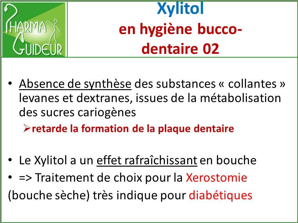 Xylitol en hygiène bucco-dentaire 01 Prévention du risque cariogène Ne provoque pas dacidification du pH salivaire les bactéries du biofilm sont incapables de métaboliser le Xylitol, évitant ainsi acidité génératrice de caries neutralisation rapide de lacidité
