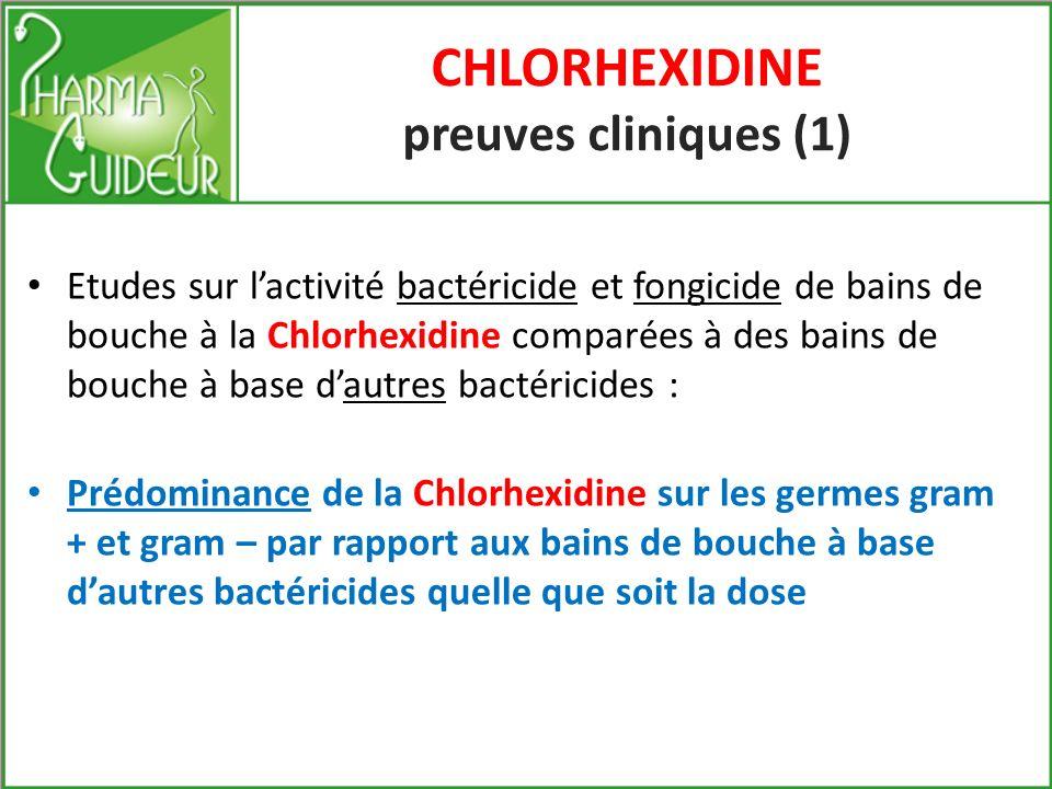 Chlorhexidine et cicatrisation DOUBLE NIVEAU D ACTION 1- au niveau de lépithélium gingival renforce la différenciation des kératinocytes 2- au niveau du tissu conjonctif Stimule la prolifération des fibroblastes