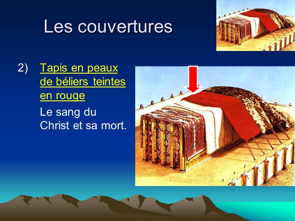 Les couvertures 2)Tapis en peaux de béliers teintes en rouge Le sang du Christ et sa mort.