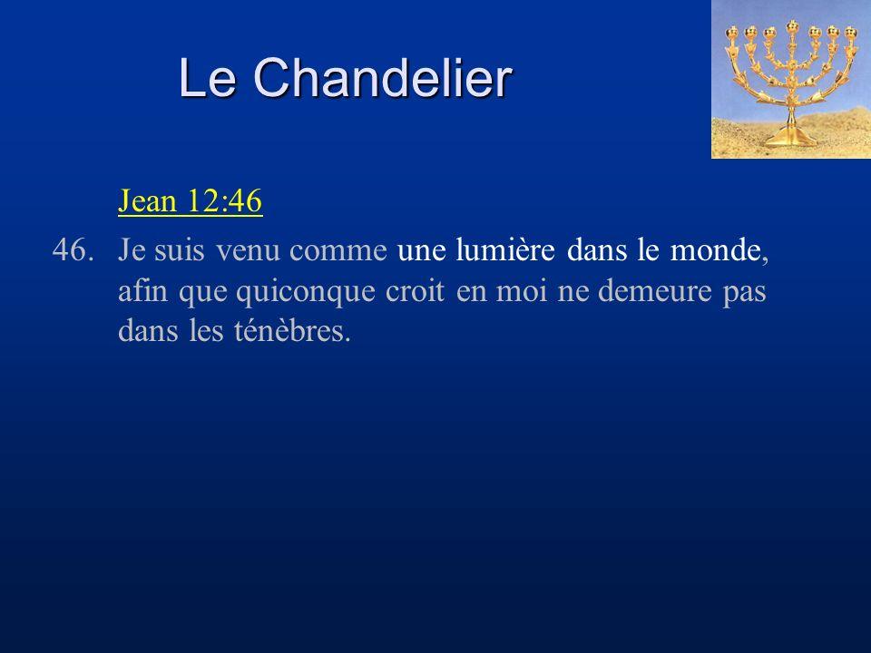 Le Chandelier Jean 12:46 46.Je suis venu comme une lumière dans le monde, afin que quiconque croit en moi ne demeure pas dans les ténèbres.