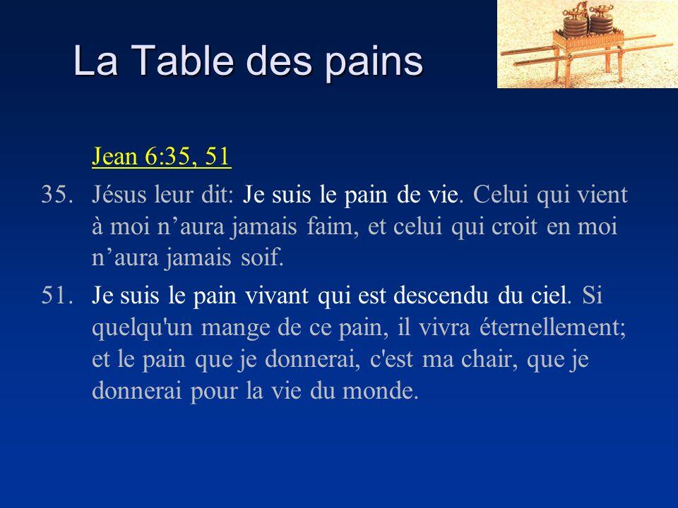 La Table des pains Jean 6:35, 51 35.Jésus leur dit: Je suis le pain de vie.