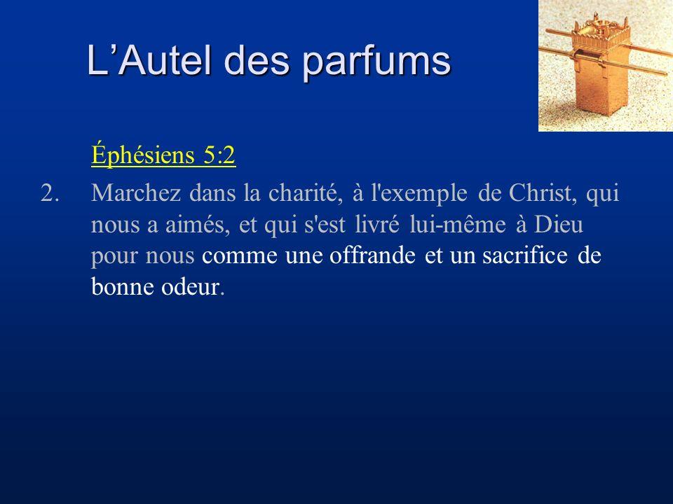 LAutel des parfums Éphésiens 5:2 2.Marchez dans la charité, à l exemple de Christ, qui nous a aimés, et qui s est livré lui-même à Dieu pour nous comme une offrande et un sacrifice de bonne odeur.