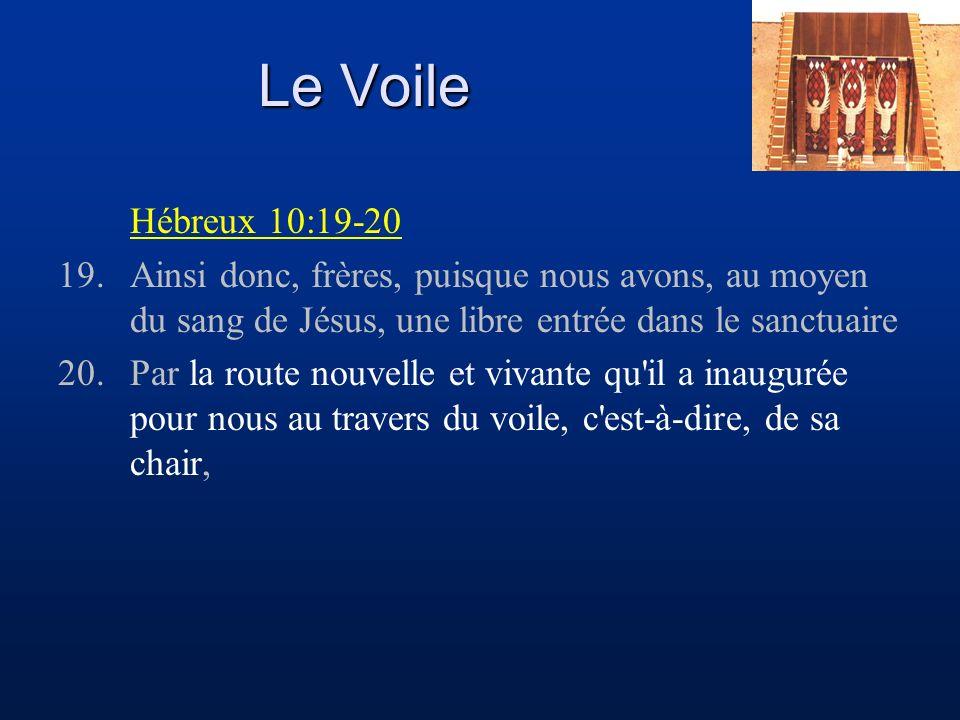 Le Voile Hébreux 10:19-20 19.Ainsi donc, frères, puisque nous avons, au moyen du sang de Jésus, une libre entrée dans le sanctuaire 20.Par la route nouvelle et vivante qu il a inaugurée pour nous au travers du voile, c est-à-dire, de sa chair,