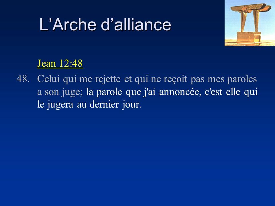 LArche dalliance Jean 12:48 48.Celui qui me rejette et qui ne reçoit pas mes paroles a son juge; la parole que j ai annoncée, c est elle qui le jugera au dernier jour.