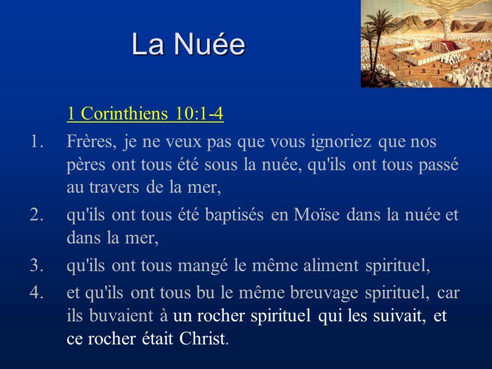 La Nuée 1 Corinthiens 10:1-4 1.Frères, je ne veux pas que vous ignoriez que nos pères ont tous été sous la nuée, qu ils ont tous passé au travers de la mer, 2.qu ils ont tous été baptisés en Moïse dans la nuée et dans la mer, 3.qu ils ont tous mangé le même aliment spirituel, 4.et qu ils ont tous bu le même breuvage spirituel, car ils buvaient à un rocher spirituel qui les suivait, et ce rocher était Christ.