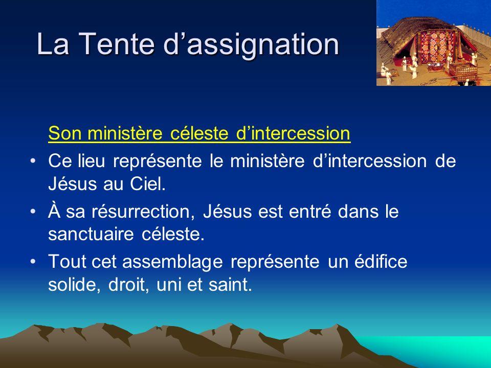 Son ministère céleste dintercession Ce lieu représente le ministère dintercession de Jésus au Ciel.
