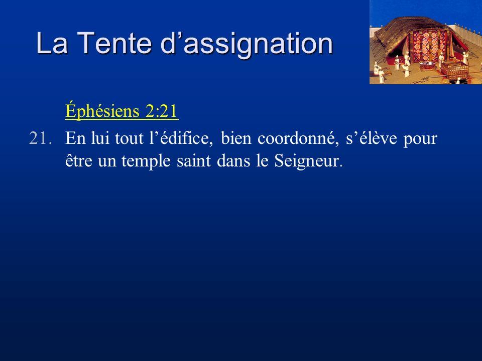 La Tente dassignation Éphésiens 2:21 21.En lui tout lédifice, bien coordonné, sélève pour être un temple saint dans le Seigneur.