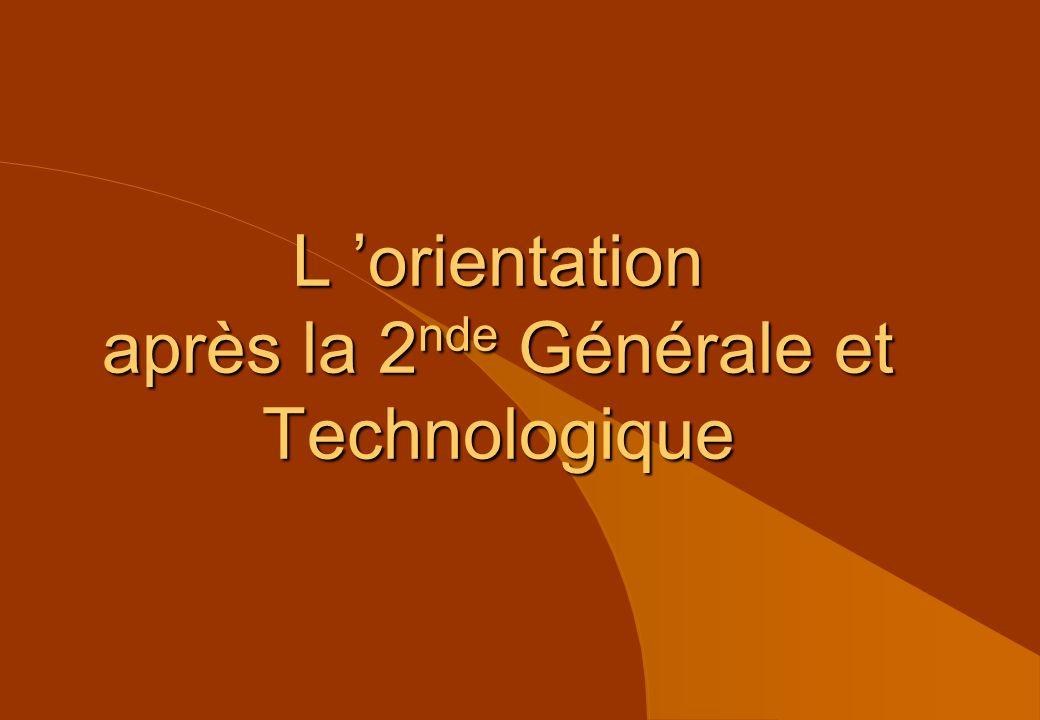 L orientation après la 2 nde Générale et Technologique