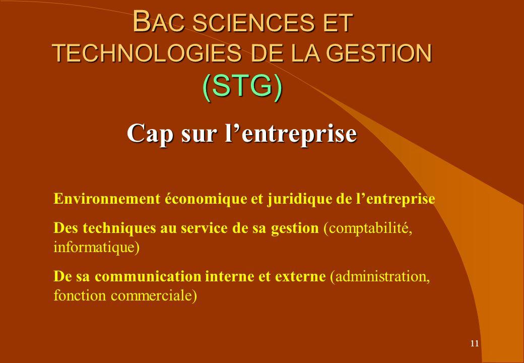 11 B AC SCIENCES ET TECHNOLOGIES DE LA GESTION (STG) Cap sur lentreprise Environnement économique et juridique de lentreprise Des techniques au servic