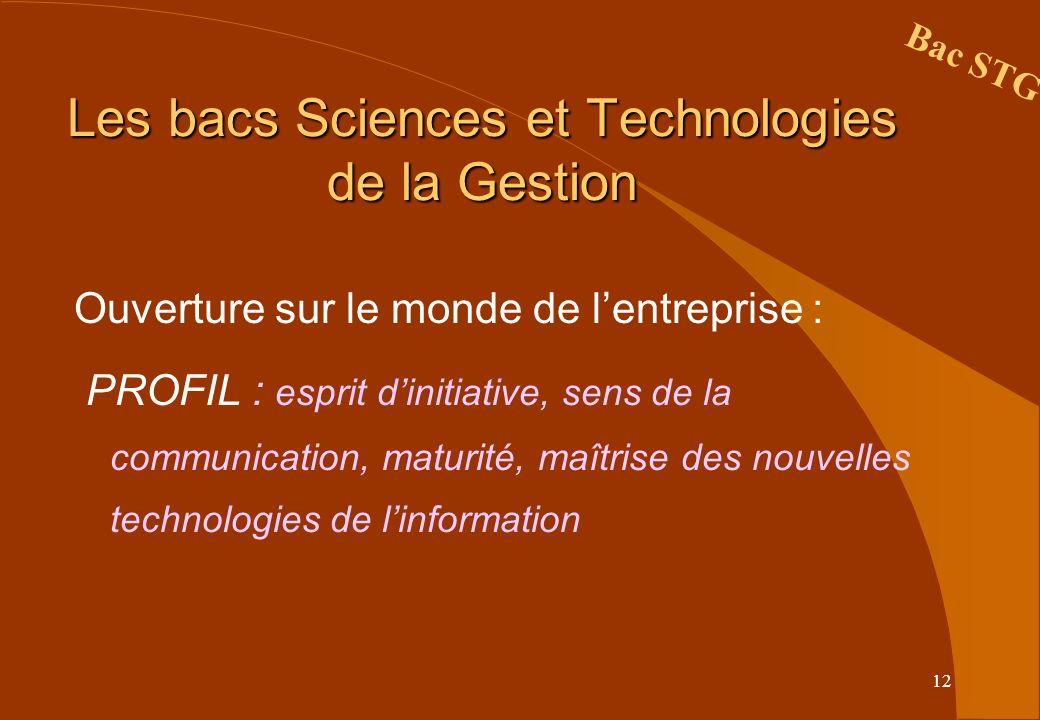 12 Les bacs Sciences et Technologies de la Gestion Ouverture sur le monde de lentreprise : PROFIL : esprit dinitiative, sens de la communication, matu