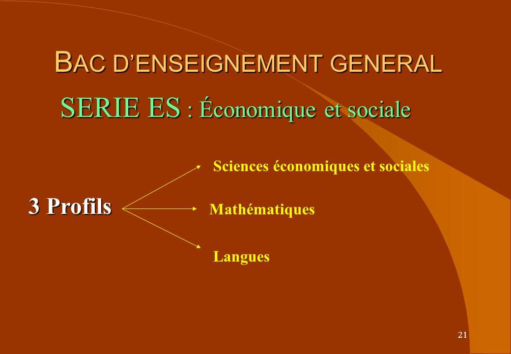21 B AC DENSEIGNEMENT GENERAL B AC DENSEIGNEMENT GENERAL 3 Profils Sciences économiques et sociales Mathématiques Langues SERIE ES : Économique et sociale