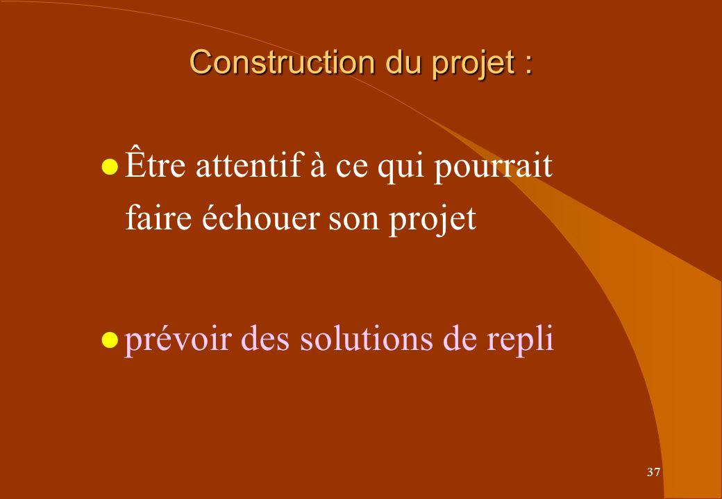 37 l Être attentif à ce qui pourrait faire échouer son projet l prévoir des solutions de repli Construction du projet :