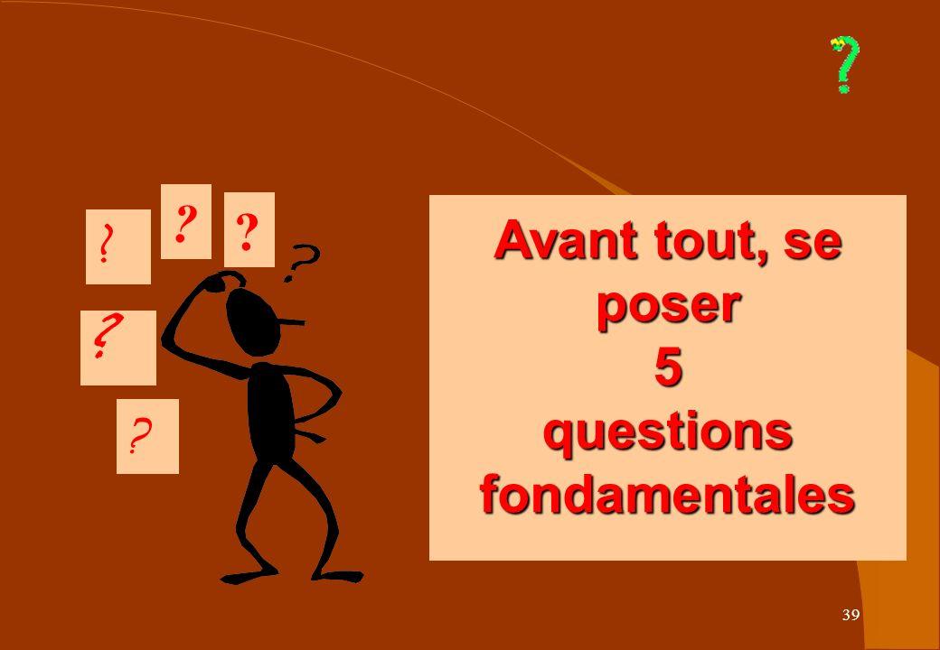 39 Avant tout, se poser 5 questions fondamentales Avant tout, se poser 5 questions fondamentales ? ? ? ? ?