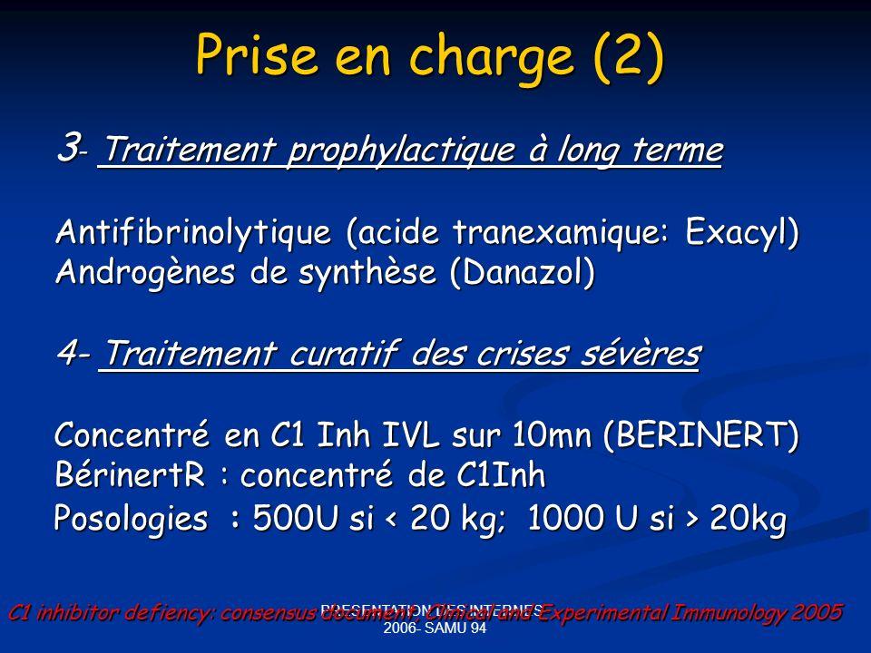 PRESENTATION DES INTERNES - 2006- SAMU 94 Prise en charge (2) 3 - Traitement prophylactique à long terme Antifibrinolytique (acide tranexamique: Exacyl) Androgènes de synthèse (Danazol) 4- Traitement curatif des crises sévères Concentré en C1 Inh IVL sur 10mn (BERINERT) BérinertR : concentré de C1Inh Posologies : 500U si 20kg C1 inhibitor defiency: consensus document, Clinical and Experimental Immunology 2005