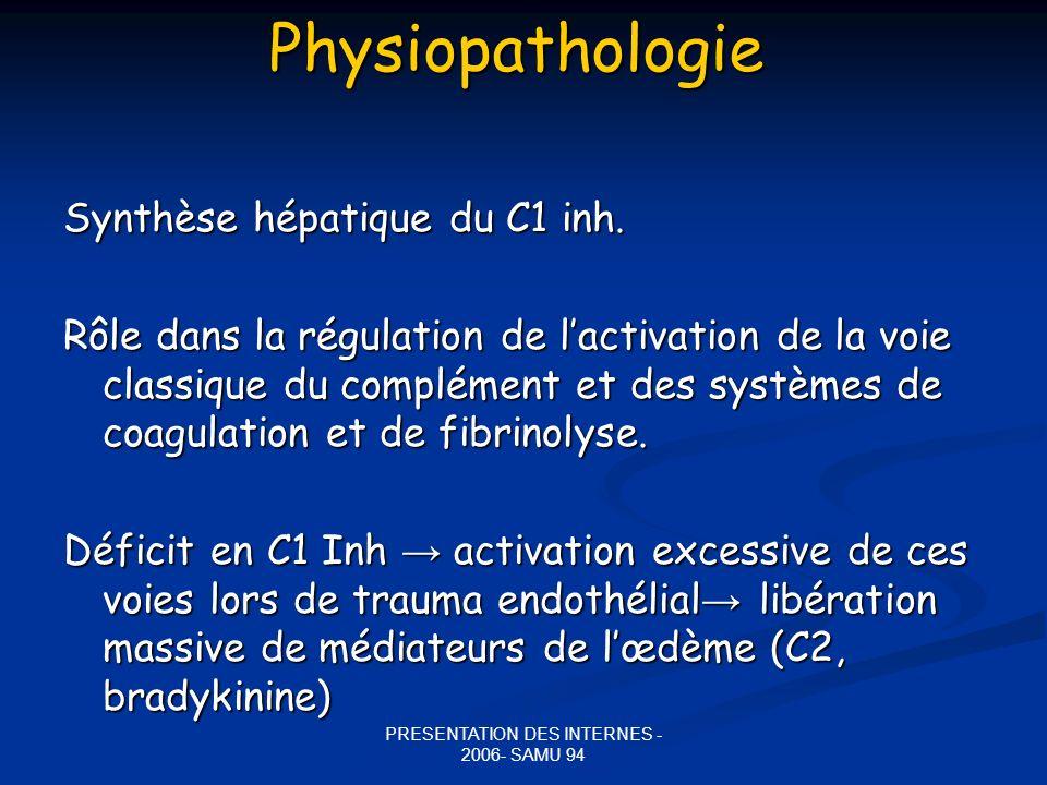 PRESENTATION DES INTERNES - 2006- SAMU 94Physiopathologie Synthèse hépatique du C1 inh. Rôle dans la régulation de lactivation de la voie classique du