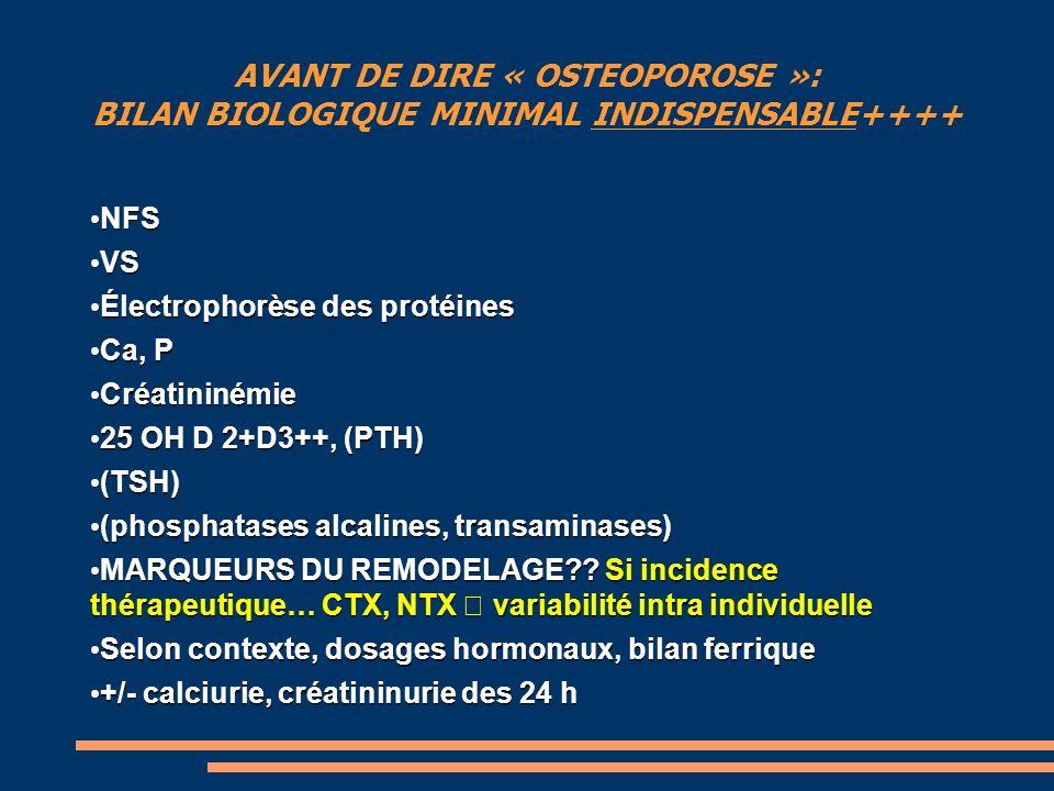 AVANT DE DIRE « OSTEOPOROSE »: BILAN BIOLOGIQUE MINIMAL INDISPENSABLE++++ NFS NFS VS VS Électrophorèse des protéines Électrophorèse des protéines Ca, P Ca, P Créatininémie Créatininémie 25 OH D 2+D3++, (PTH) 25 OH D 2+D3++, (PTH) (TSH) (TSH) (phosphatases alcalines, transaminases) (phosphatases alcalines, transaminases) MARQUEURS DU REMODELAGE?.