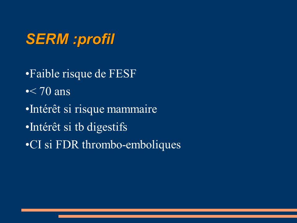 SERM :profil Faible risque de FESF < 70 ans Intérêt si risque mammaire Intérêt si tb digestifs CI si FDR thrombo-emboliques