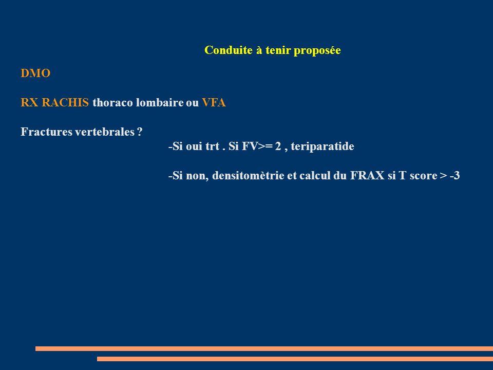 Conduite à tenir proposée DMO RX RACHIS thoraco lombaire ou VFA Fractures vertebrales .
