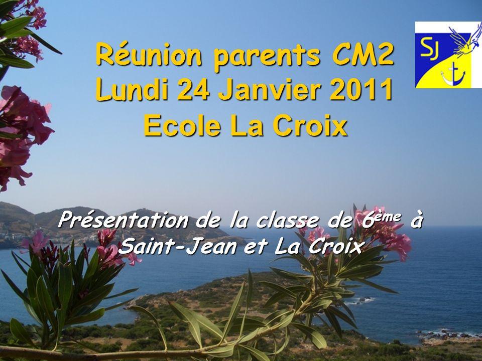 Réunion parents CM2 Lun di 24 Janvier 2011 Ecole La Croix Présentation de la classe de 6 ème à Saint-Jean et La Croix