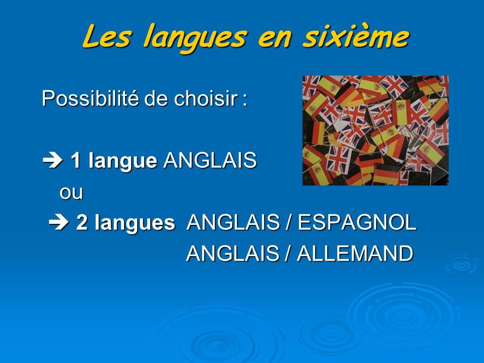 Les langues en sixième Possibilité de choisir : 1 langue ANGLAIS 1 langue ANGLAIS ou ou 2 languesANGLAIS / ESPAGNOL 2 languesANGLAIS / ESPAGNOL ANGLAIS / ALLEMAND ANGLAIS / ALLEMAND