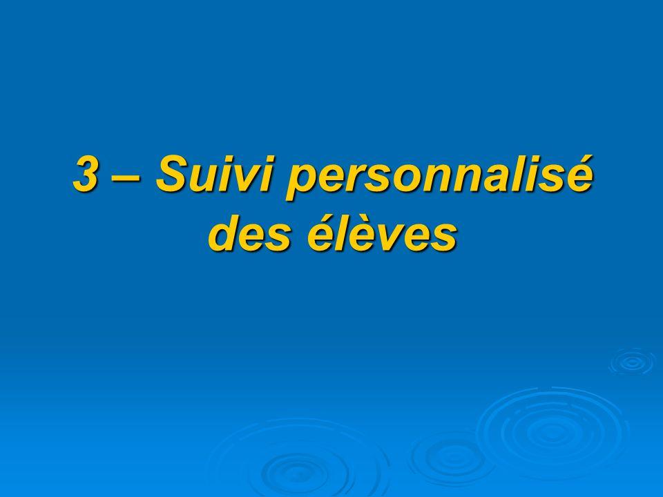 3 – Suivi personnalisé des élèves