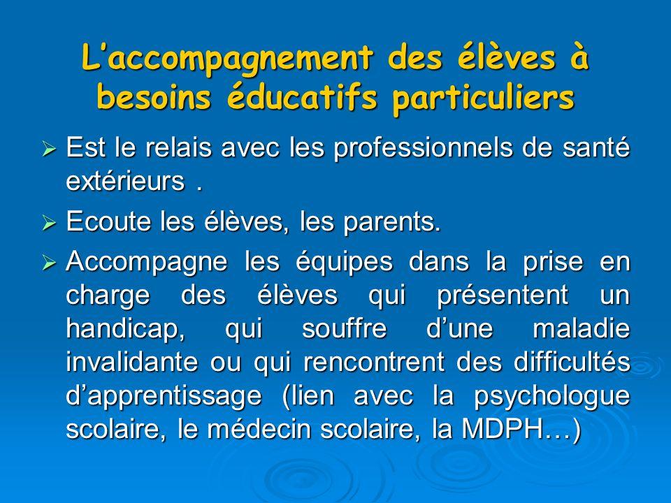 Laccompagnement des élèves à besoins éducatifs particuliers Est le relais avec les professionnels de santé extérieurs.