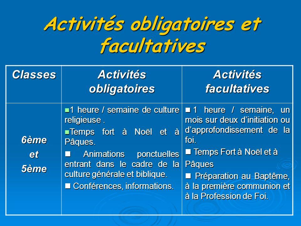 Activités obligatoires et facultatives Classes Activités obligatoires Activités facultatives 6èmeet5ème 1 heure / semaine de culture religieuse.