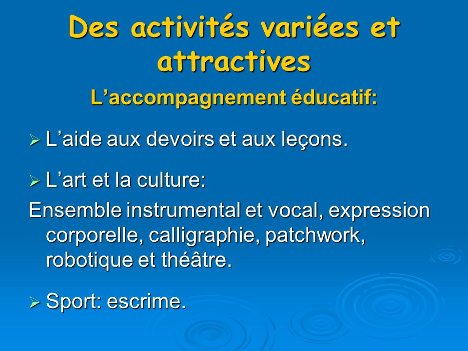 Lassociation sportive Badminton Badminton Handball Handball Foot en salle Foot en salle Tennis de table Tennis de table Athlétisme Athlétisme Des animations le midi Tournois de foot, de tennis de table.