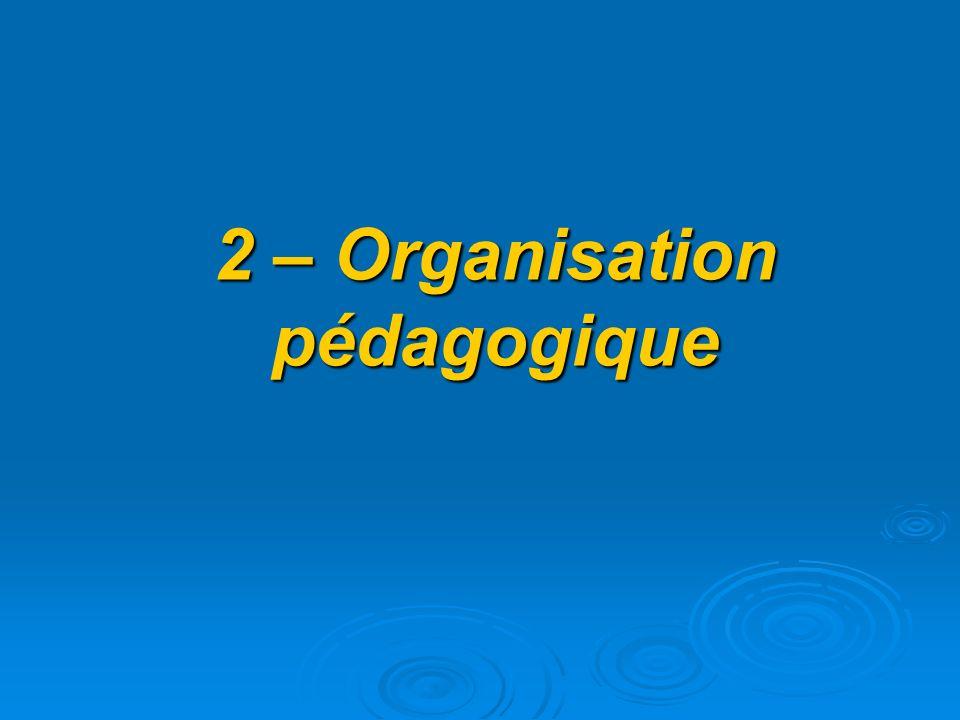 2 – Organisation pédagogique