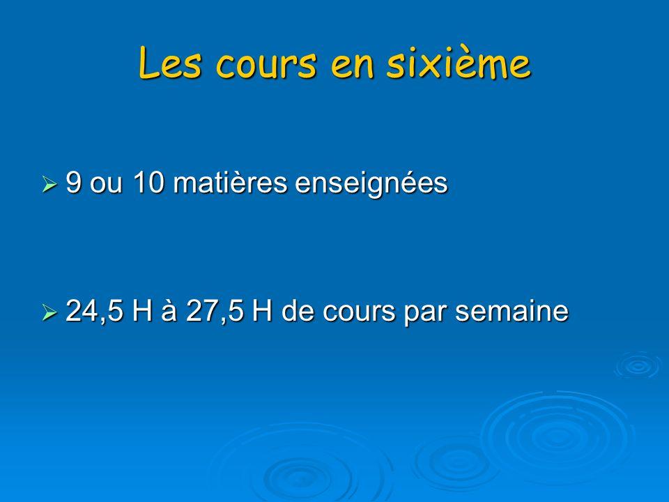 Les cours en sixième 9 ou 10 matières enseignées 9 ou 10 matières enseignées 24,5 H à 27,5 H de cours par semaine 24,5 H à 27,5 H de cours par semaine