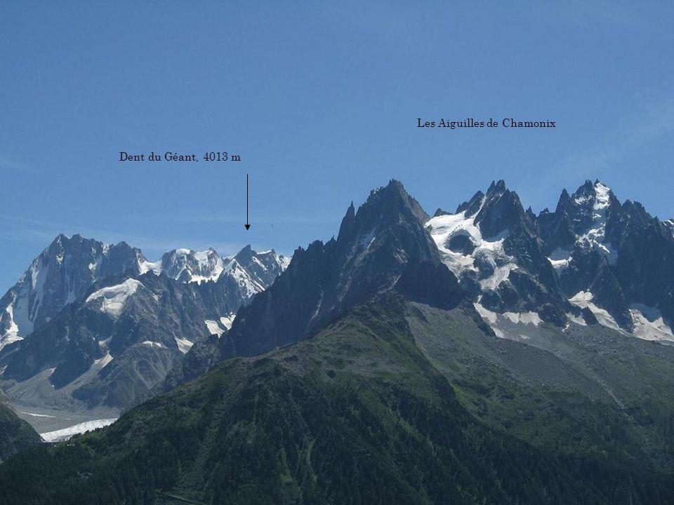 Aiguille Verte 4121 m Aiguille du Dru 3754 m Bas de la Mer de Glace Les Grandes Jorasses, 4208 m
