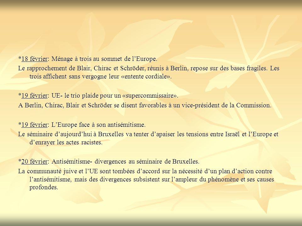 *18 février: Ménage à trois au sommet de lEurope. Le rapprochement de Blair, Chirac et Schröder, réunis à Berlin, repose sur des bases fragiles. Les t