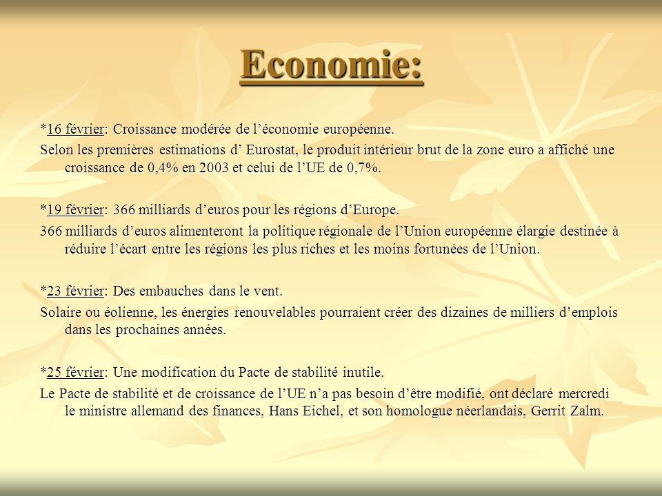 Economie: *16 février: Croissance modérée de léconomie européenne. Selon les premières estimations d Eurostat, le produit intérieur brut de la zone eu