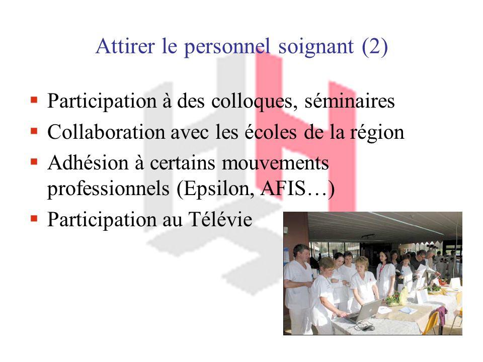 Attirer le personnel soignant (2) Participation à des colloques, séminaires Collaboration avec les écoles de la région Adhésion à certains mouvements professionnels (Epsilon, AFIS…) Participation au Télévie