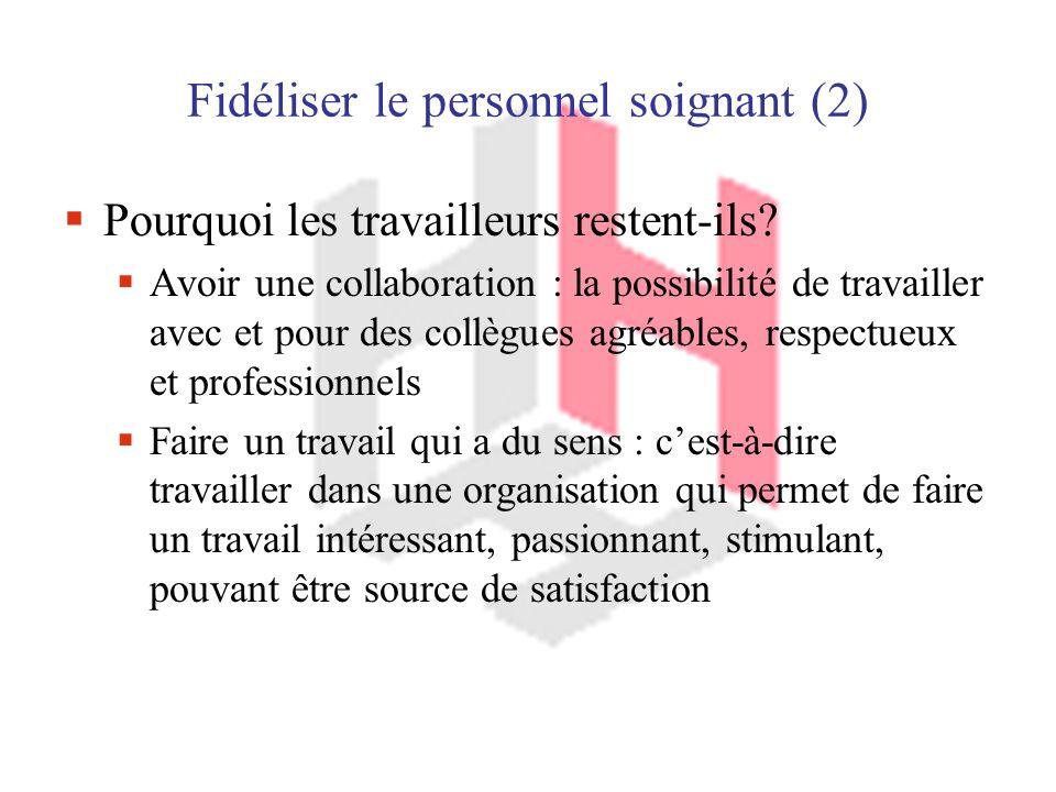 Fidéliser le personnel soignant (2) Pourquoi les travailleurs restent-ils.