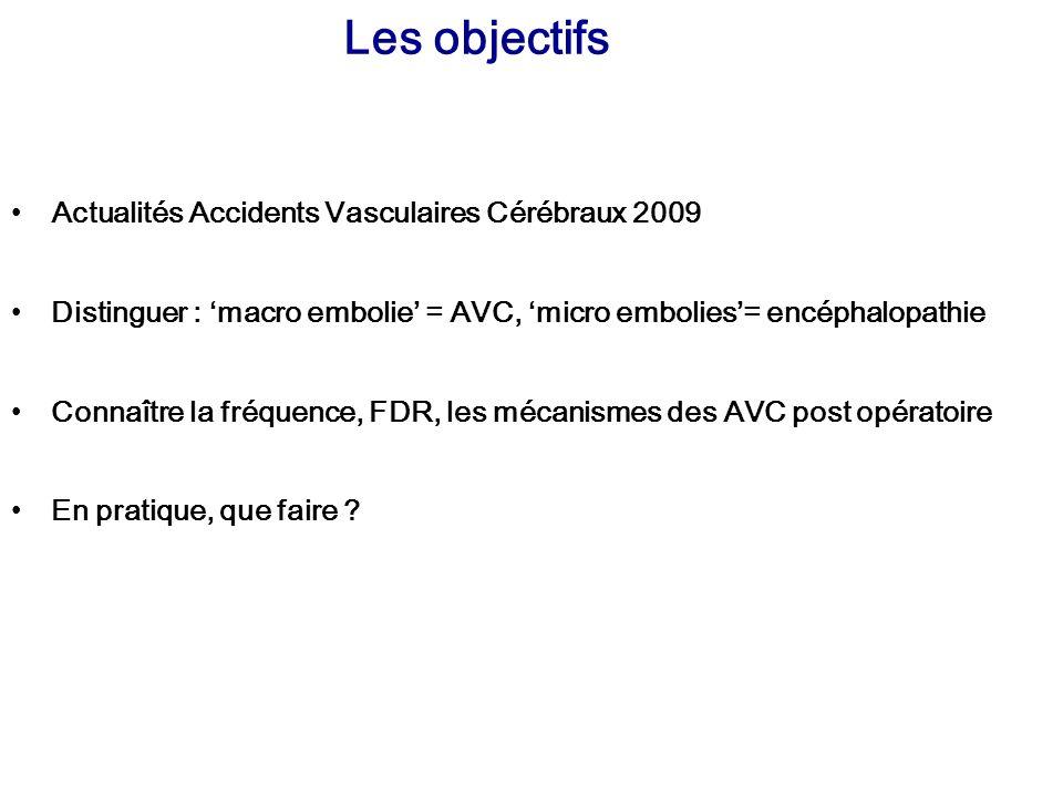 Les objectifs Actualités Accidents Vasculaires Cérébraux 2009 Distinguer : macro embolie = AVC, micro embolies= encéphalopathie Connaître la fréquence