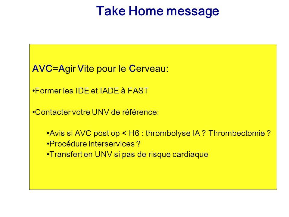 Take Home message AVC=Agir Vite pour le Cerveau: Former les IDE et IADE à FAST Contacter votre UNV de référence: Avis si AVC post op < H6 : thrombolys