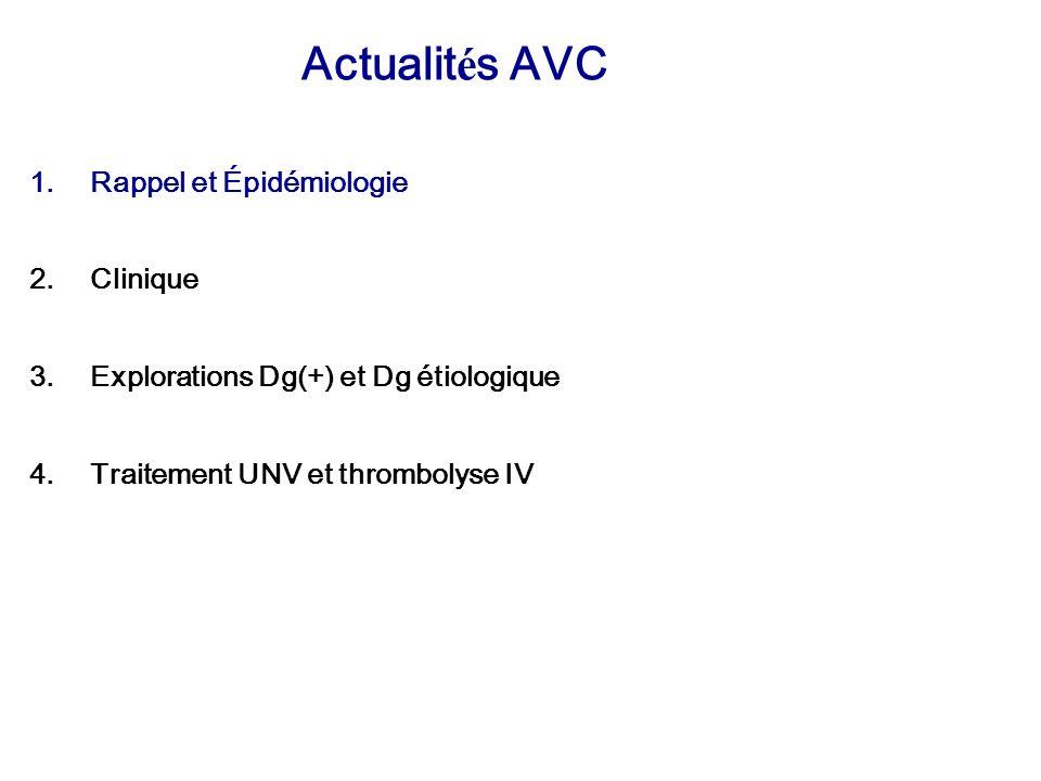 Actualit é s AVC 1.Rappel et Épidémiologie 2.Clinique 3.Explorations Dg(+) et Dg étiologique 4.Traitement UNV et thrombolyse IV