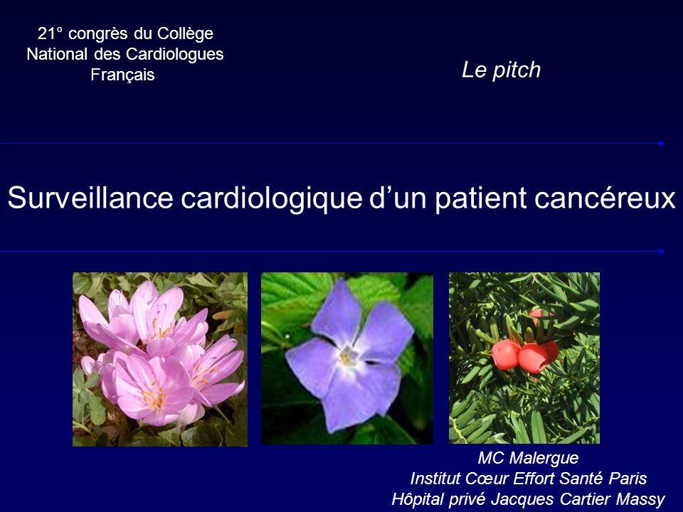 21° congrès du Collège National des Cardiologues Français Le pitch Surveillance cardiologique dun patient cancéreux MC Malergue Institut Cœur Effort S