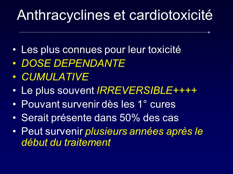 Les plus connues pour leur toxicité DOSE DEPENDANTE CUMULATIVE Le plus souvent IRREVERSIBLE++++ Pouvant survenir dès les 1° cures Serait présente dans