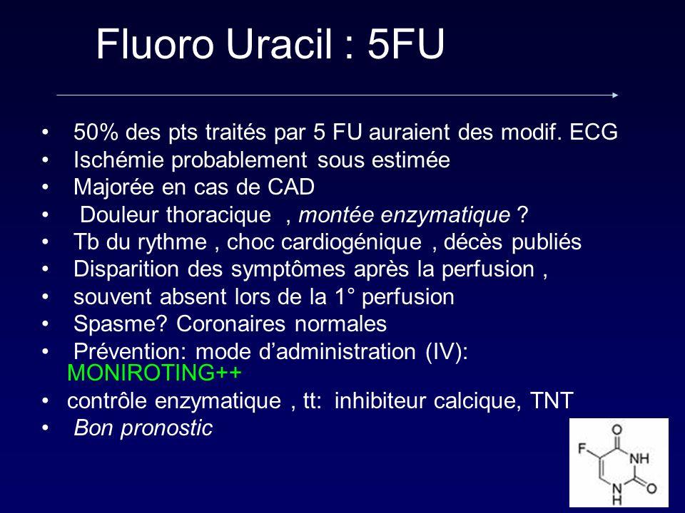 Fluoro Uracil : 5FU 50% des pts traités par 5 FU auraient des modif. ECG Ischémie probablement sous estimée Majorée en cas de CAD Douleur thoracique,