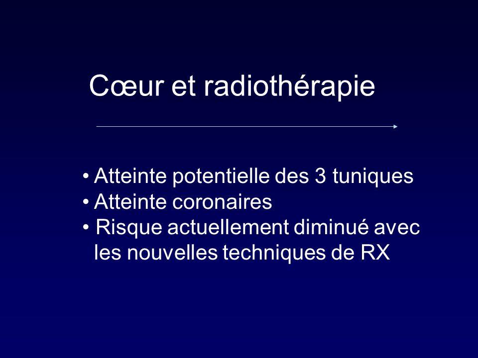 Cœur et radiothérapie Atteinte potentielle des 3 tuniques Atteinte coronaires Risque actuellement diminué avec les nouvelles techniques de RX
