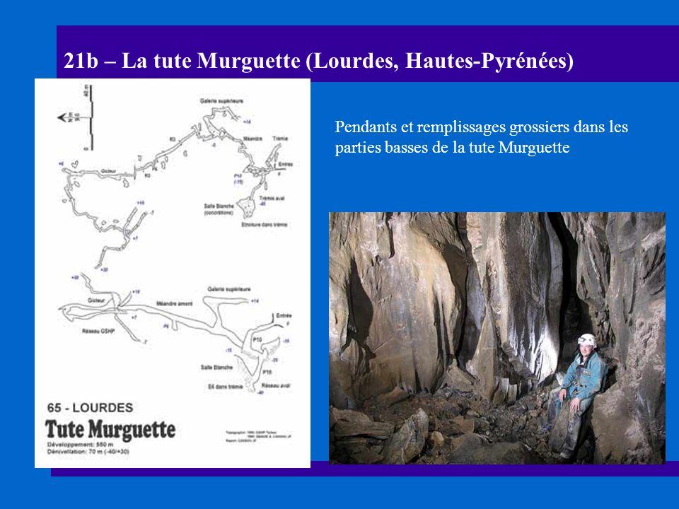21c – La tute Murguette (Lourdes, Hautes-Pyrénées) Chenal de voûte et témoins de remplissages fins dans les parties hautes de la cavité
